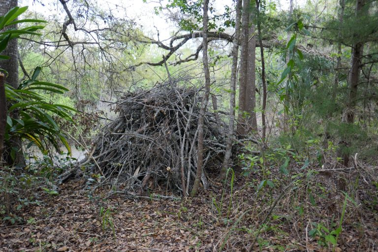 a completed brush pile with a preformed pond liner as the base